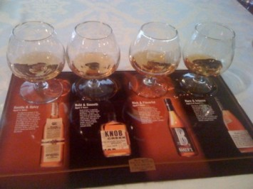 Four Jim Beam products, from left: Basil Hayden, Knob Creek, Baker's and Booker's.